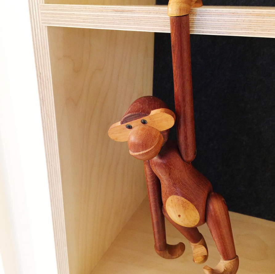 Feature detail of our hand routed plywood joins with the iconic Kay Bojesen monkey hanging around.