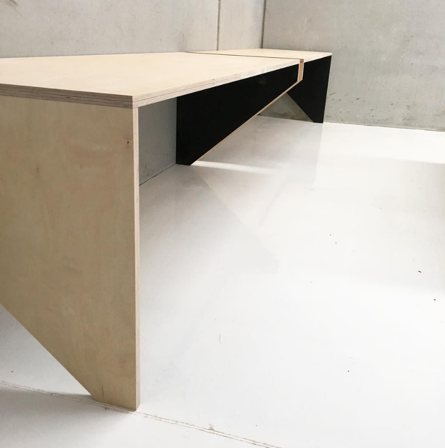 Set of balance benches made from 24mm premium birch plywood with black stain two-tone detail.