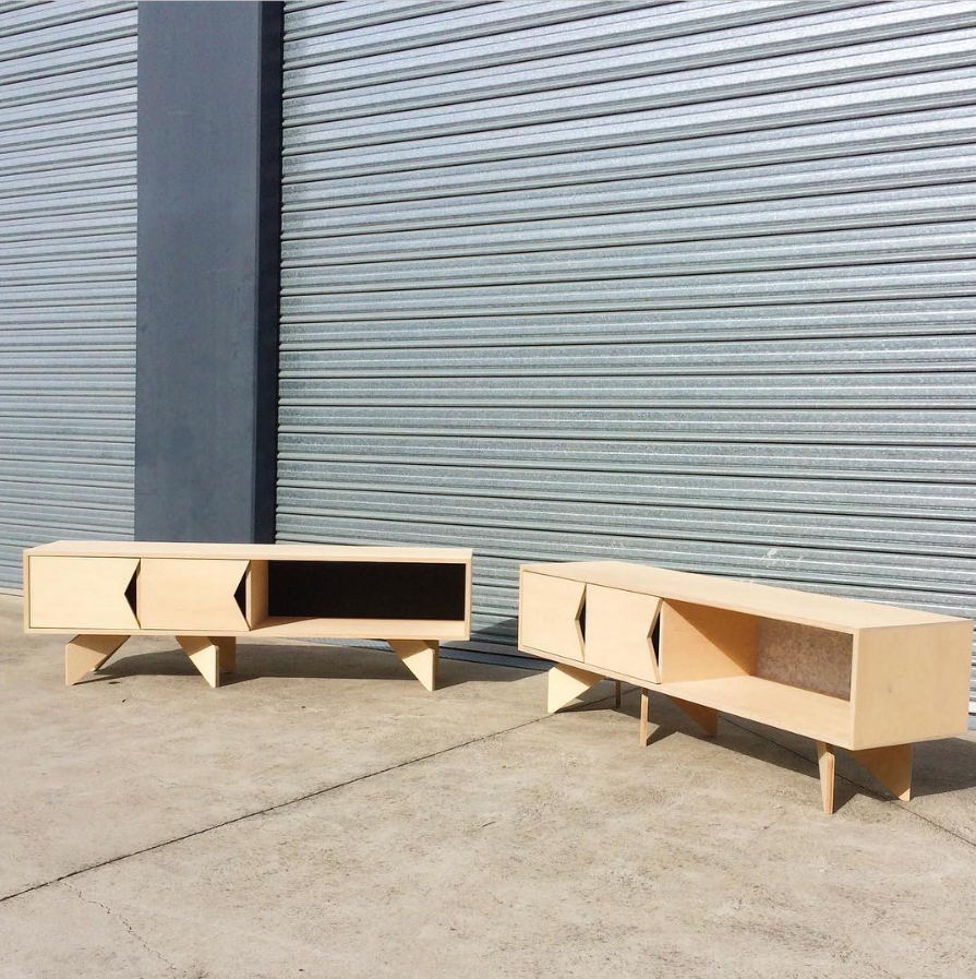 A pigeon pair of plywood entertainment units for Southbank apartments, one with dark grey acoustic backing, other light grey.