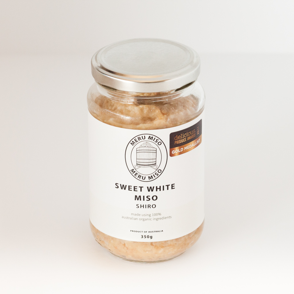 Sweet White Miso  The sweetest of the Meru range, this Miso has a delicate sweetness that is balanced against the saltiness with a lingering celery infused umami. The overall profile can be reminiscent of parmesan cheese.