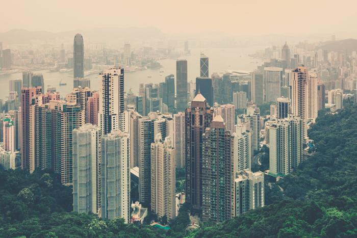 Haze Hong Kong Downtown, view from Victoria Peak.
