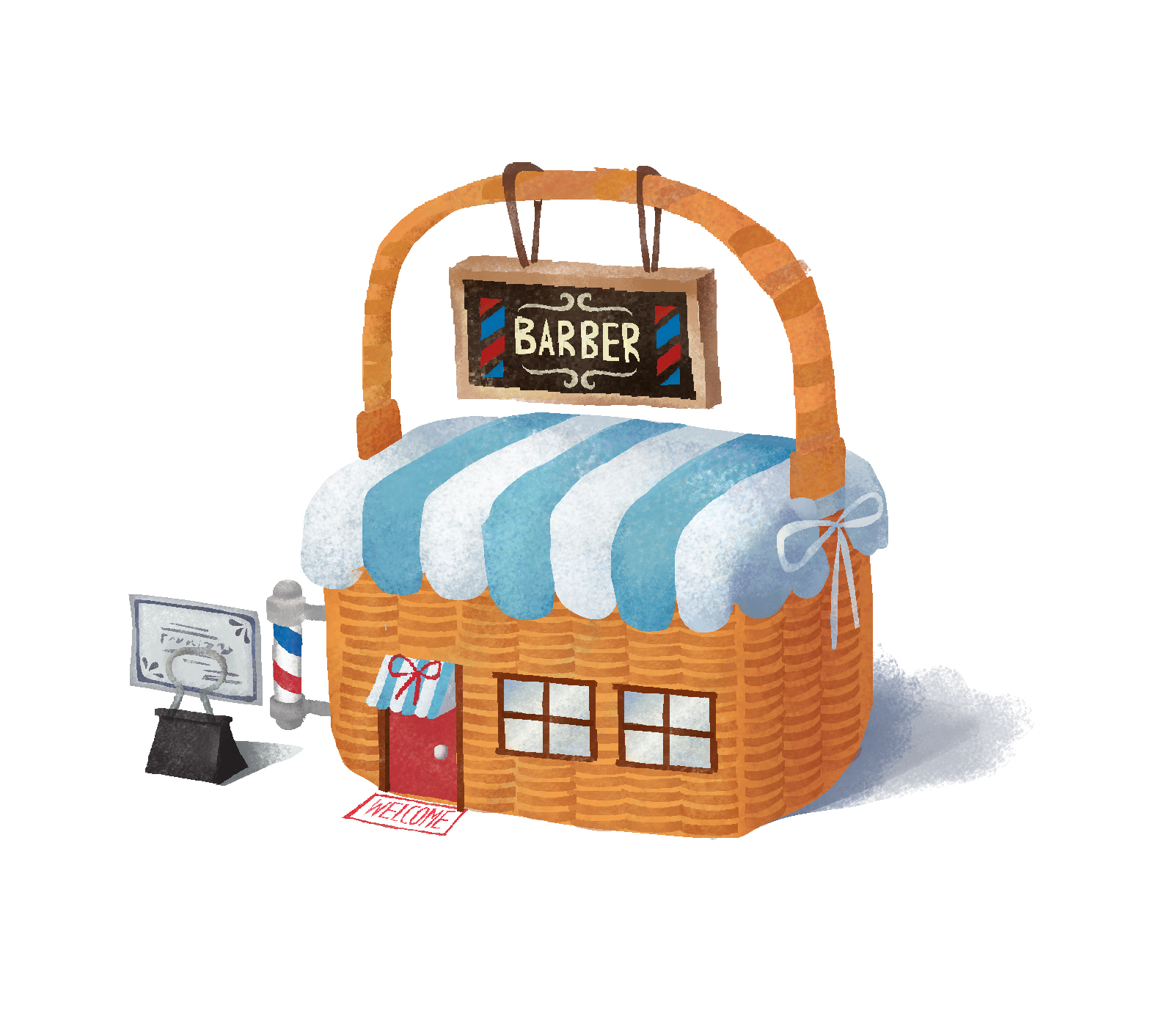 BARBER SHOP - Where Bread/Milk works for his customers to be decorated. This is important location for the show.