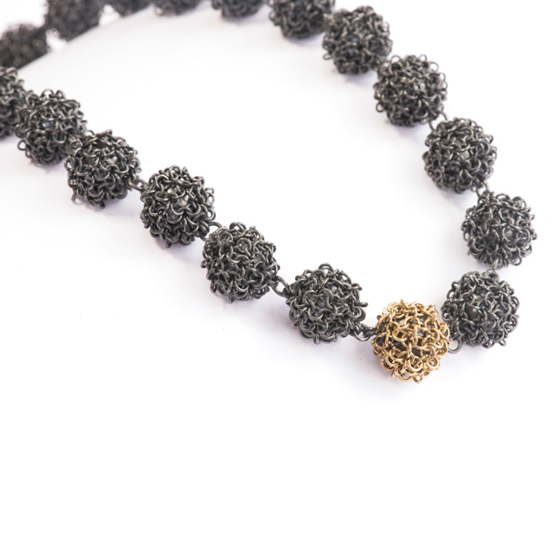 Oxidised Silver and 18ct Gold Bobble Necklace
