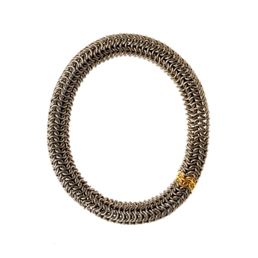 Titanium and 18ct Gold Tube Bracelet
