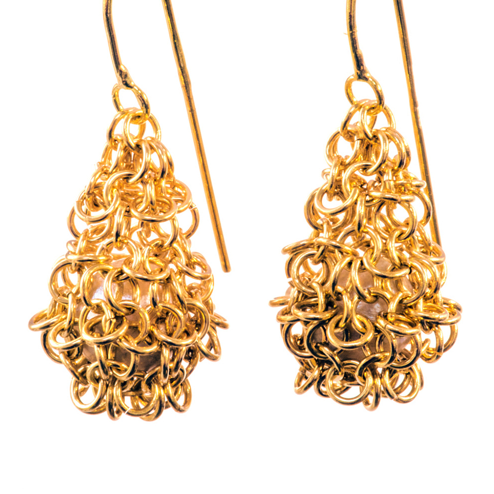 18ct Gold and Pearl Pod Earrings