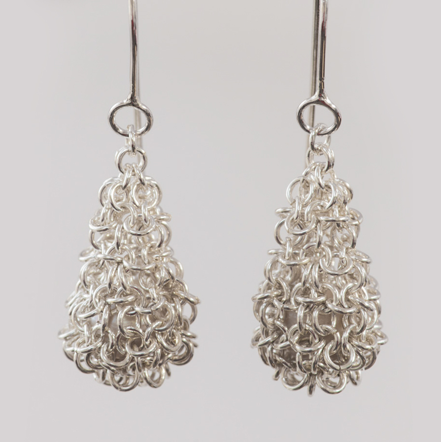 Silver and Pearl Pod Earrings