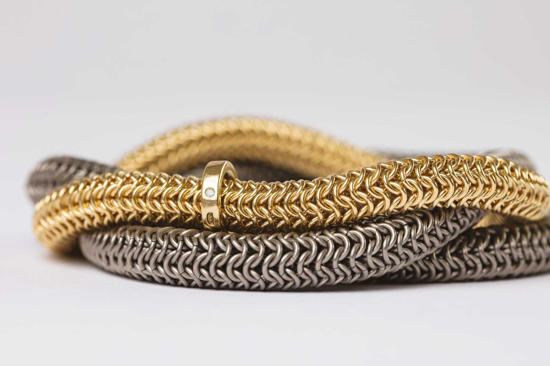 18ct gold, titanium and diamond tryst bracelet