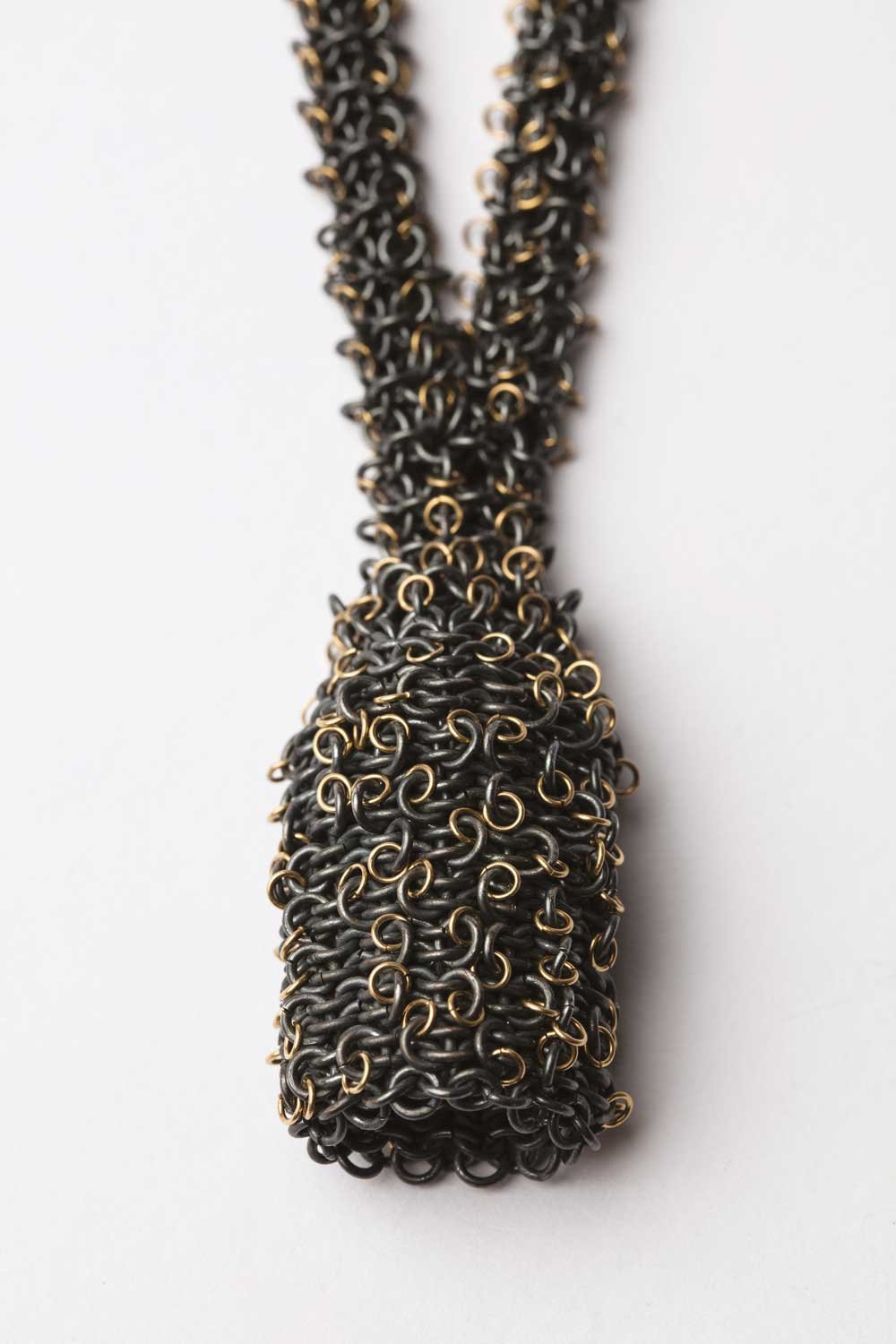 Oxidised silver and 18ct gold skep necklace
