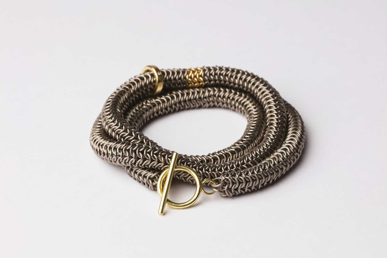 Titanium, 18ct gold and diamond wrap around bracelet