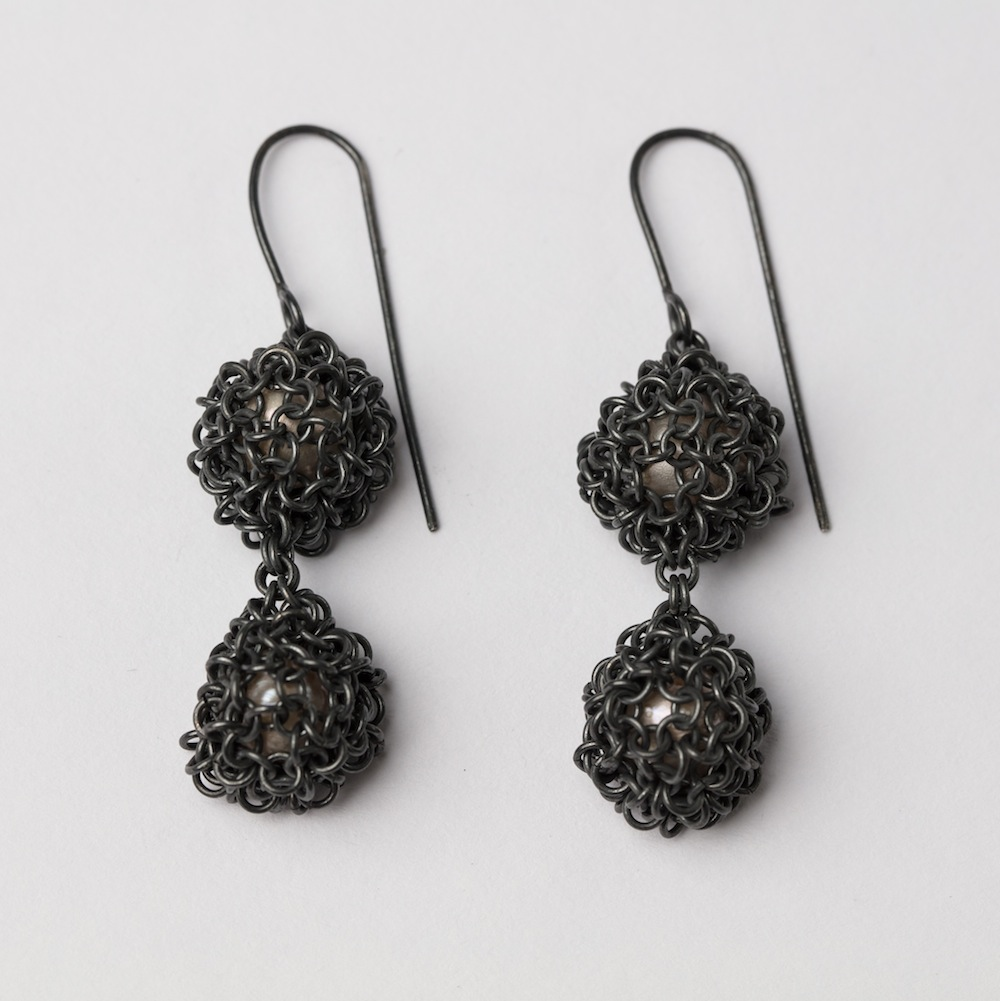 Oxidised Silver and Double Drop Pearl Earrings