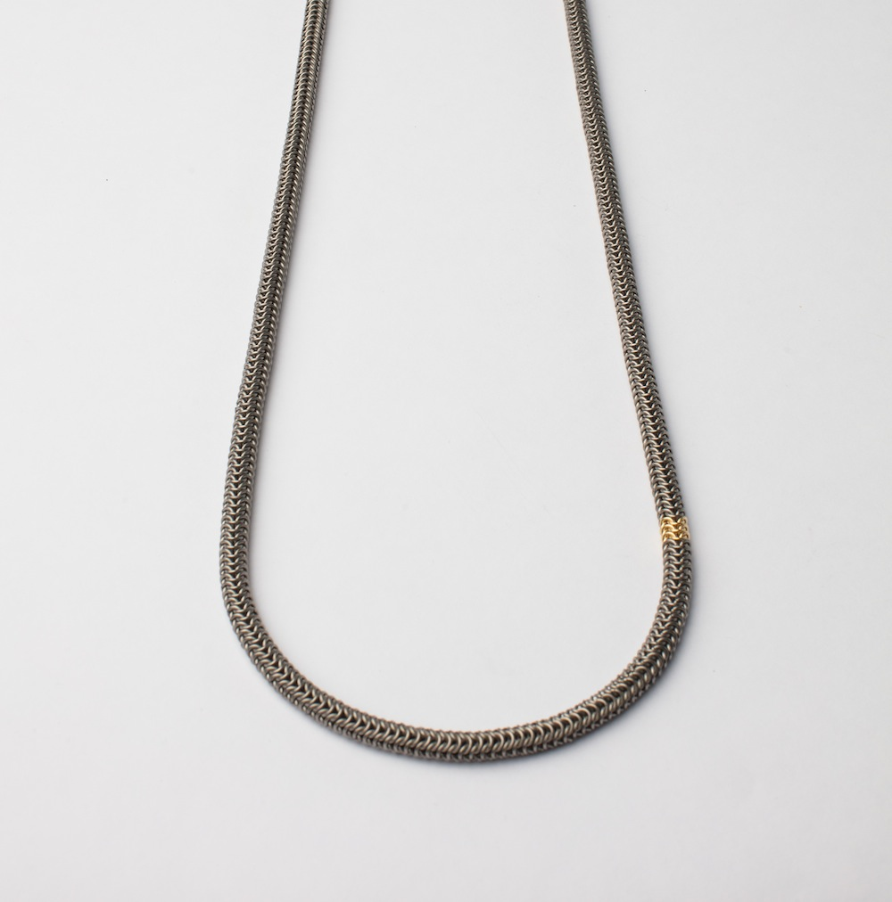 Titamium and 18ct Gold tube Necklace