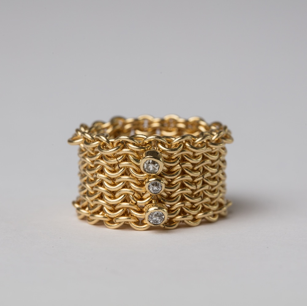 18ct Gold with Diamonds Basket Ring