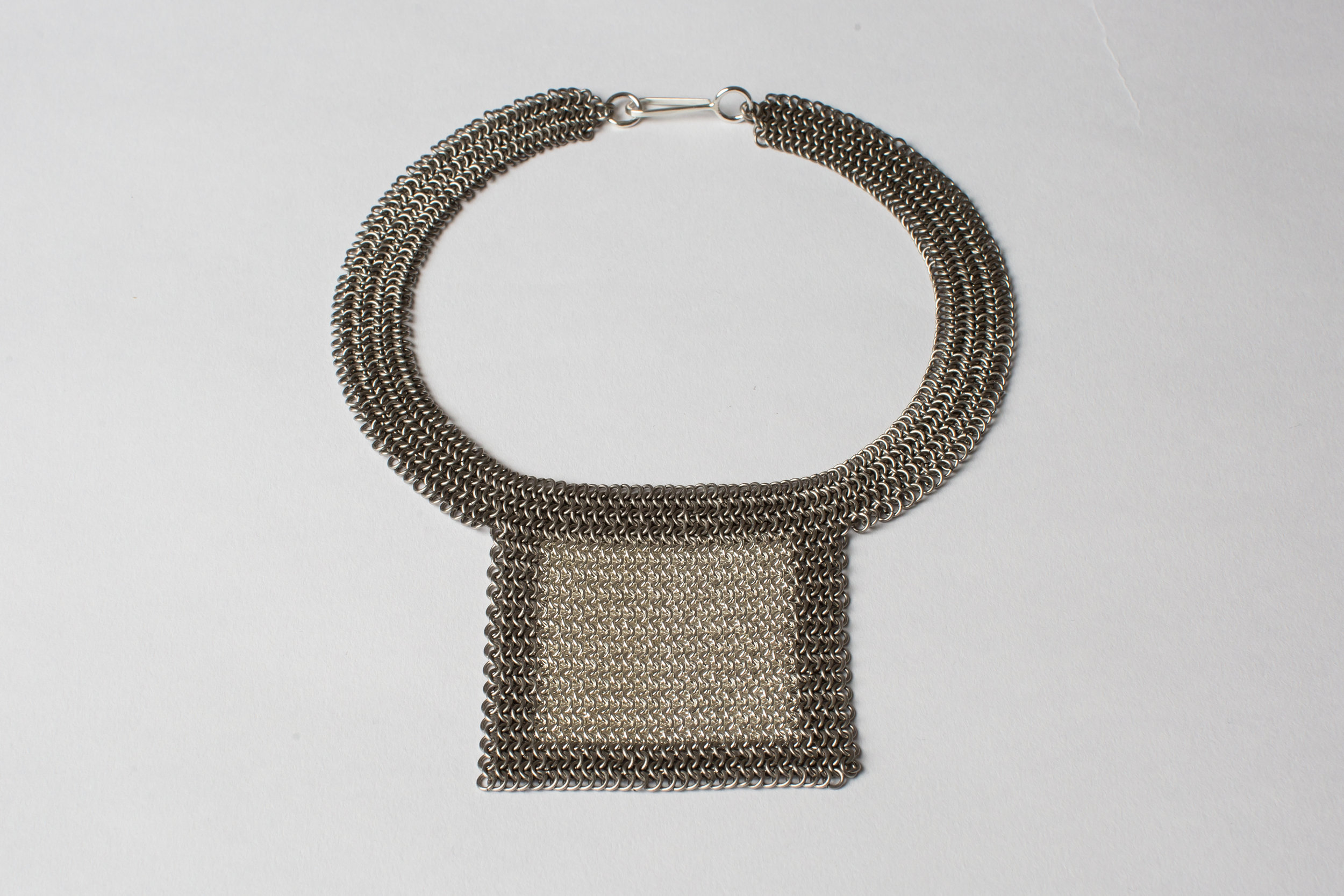 Silver Square Necklace (series 1) in Silver and Titanium chainmail