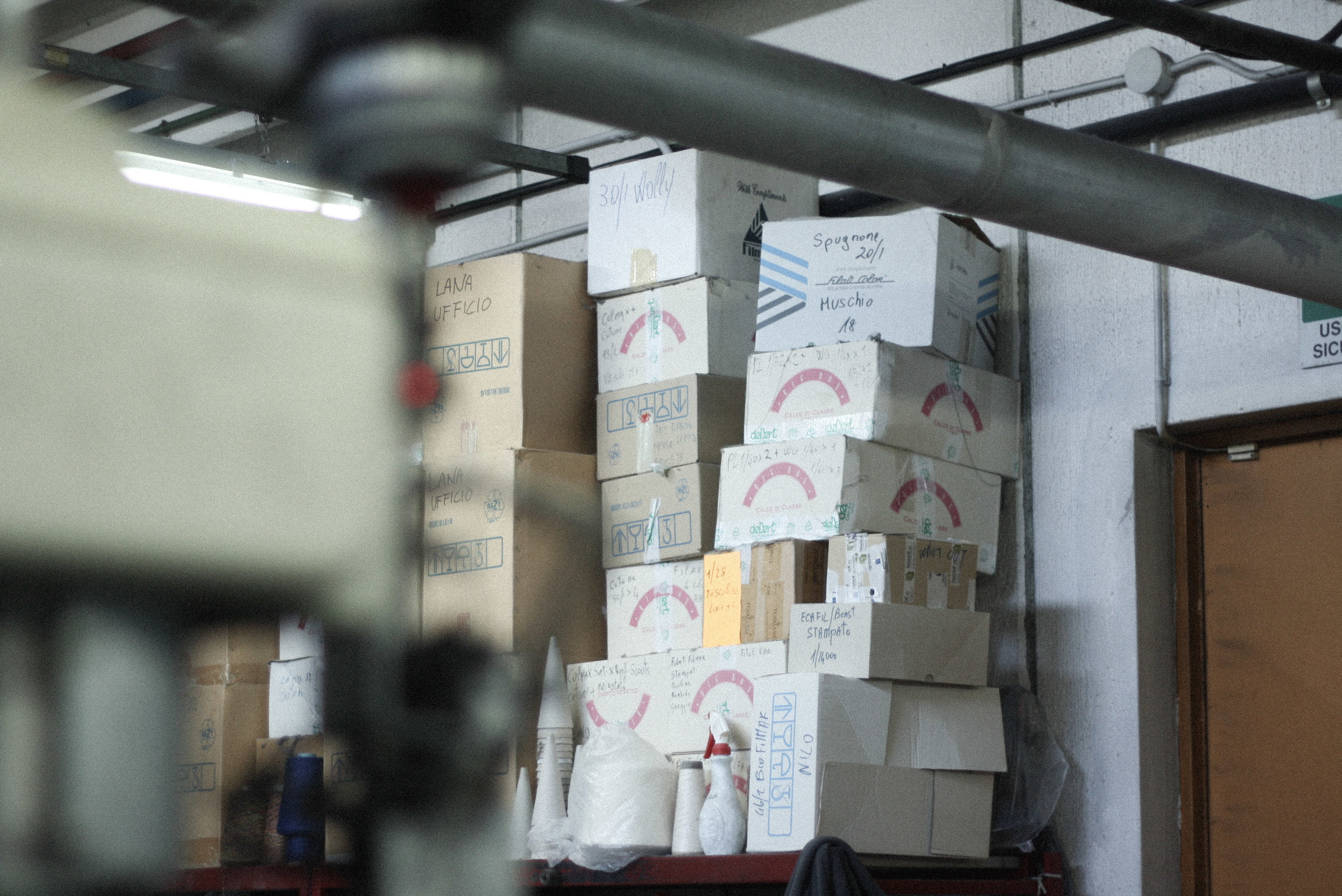 A Woven Plane – sustainable fashion for women, socks made in Italy – visiting the Italian factory where our socks are made - boxes