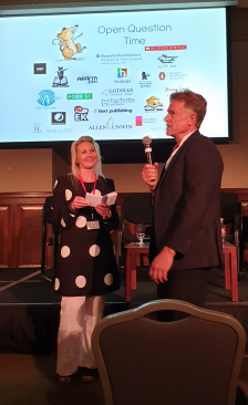 KLV organiser Coral Vass with Paul Collins of Ford Street Publishing, taking questions from the floor during Open Question Time