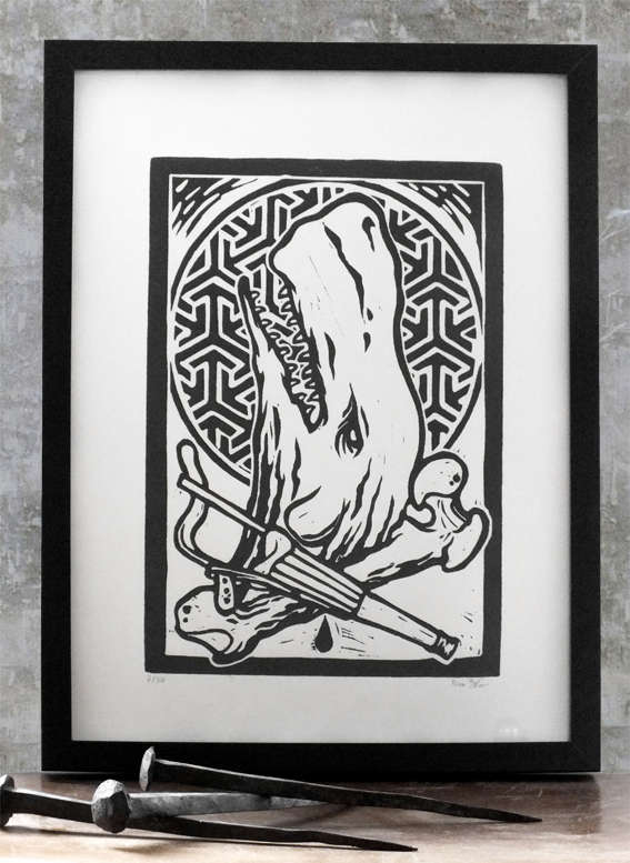 whale, moby dick, print, woodcarving, Berlin designer, Ivan Duso, Tattoo style, design, Antikapratika
