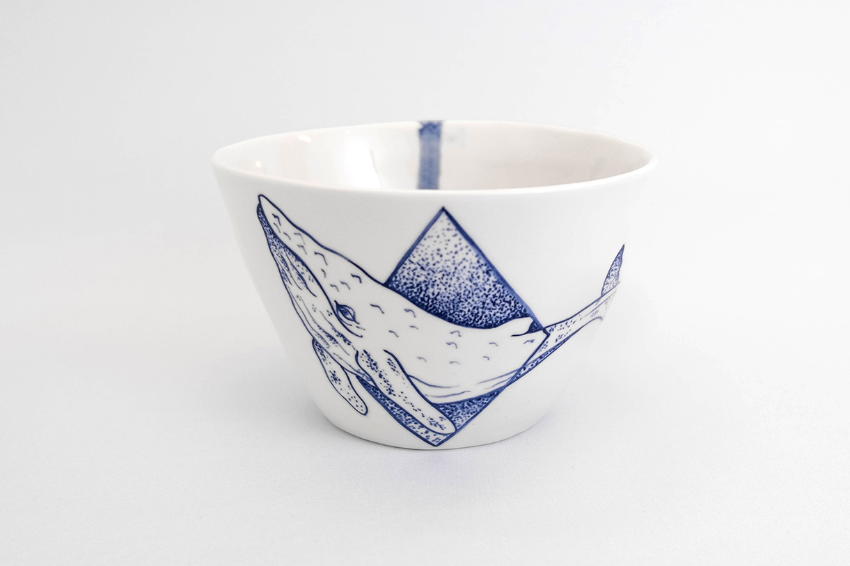 whale tattoo porcelain blue hand painted tattooed porcelain handmade in Berlin by Antikapratika