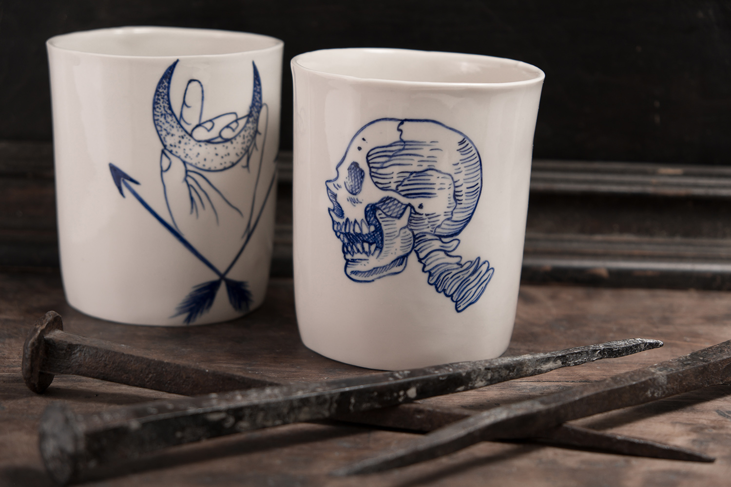skull tattoo ceramic handmade blue hand painted porcelain handamde berlin antikapratika.jpg