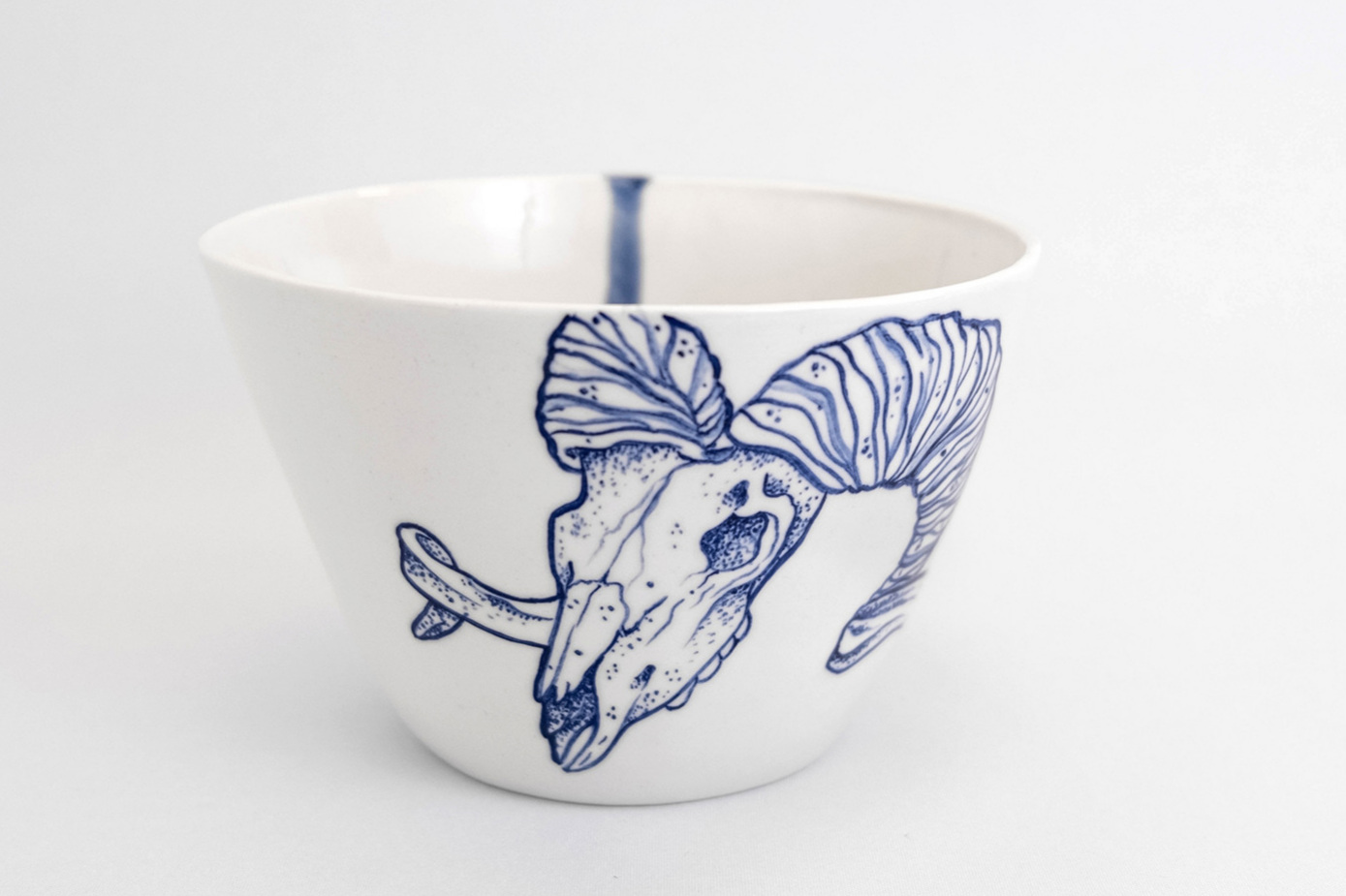 Skull tattoo animal goat hand painted porcelain blue white ceramic salad bowl handmade Berlin tattooed porcelain Antikapratika .jpg