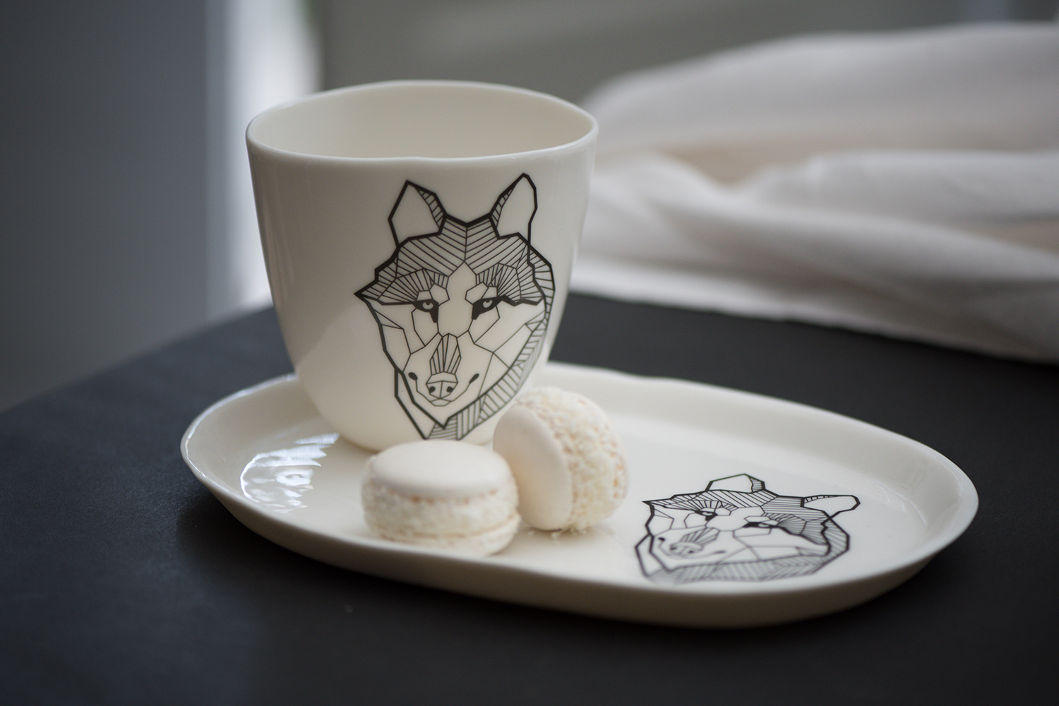 Berlin Hotel Luxury Porcelain Wolf Tattoo black white style Coffee Mug handmade macarons Antikapratika .jpg