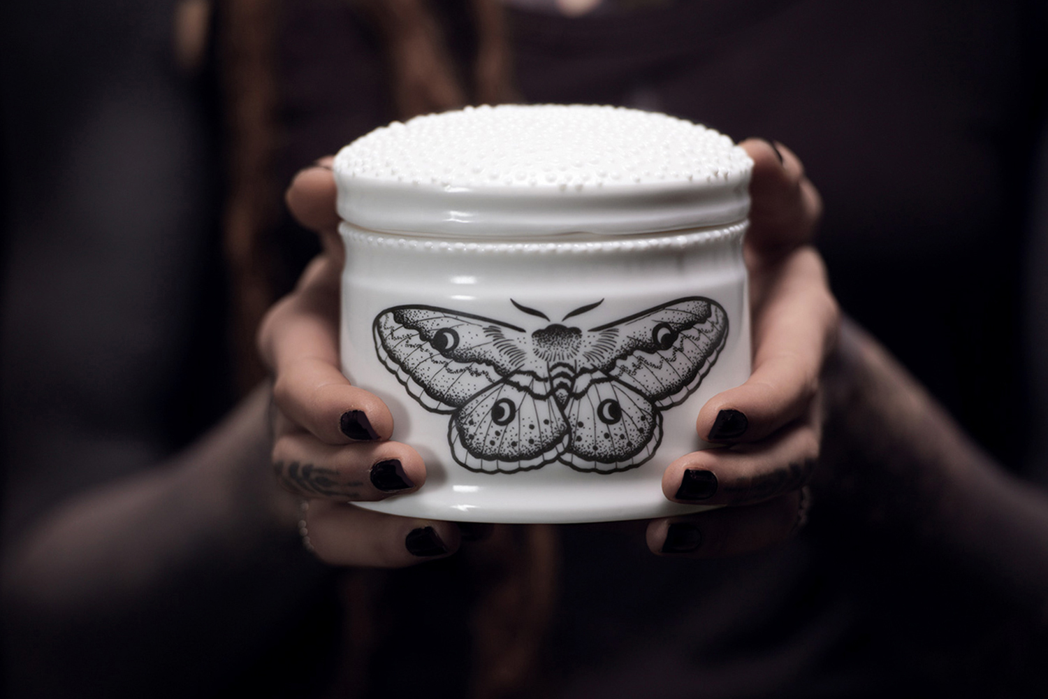 Berlin  Ceramic Tattoo Apothecary porcelain black moth butterfly tattoo pharmacy vase handamde slipcasted Antikapratika.jpg