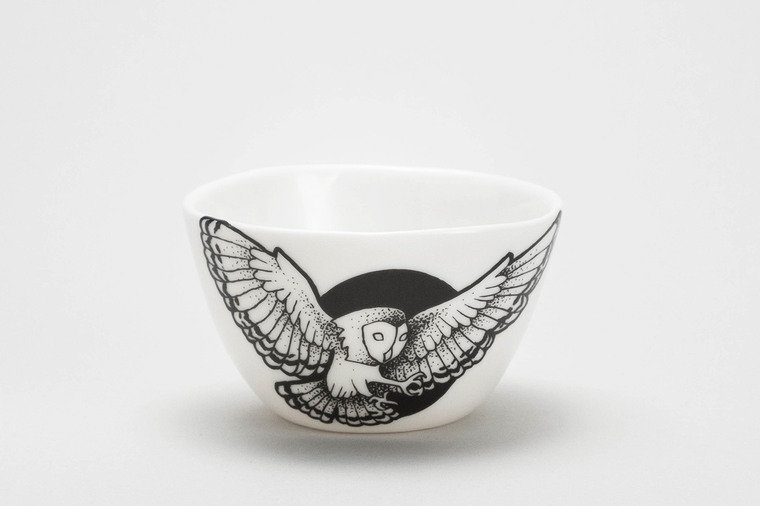 Tattoo owl black moon espresso cup small bowl modern tableware mug handmade porcelain black lines tattooed Berlin Antikapratika.jpg