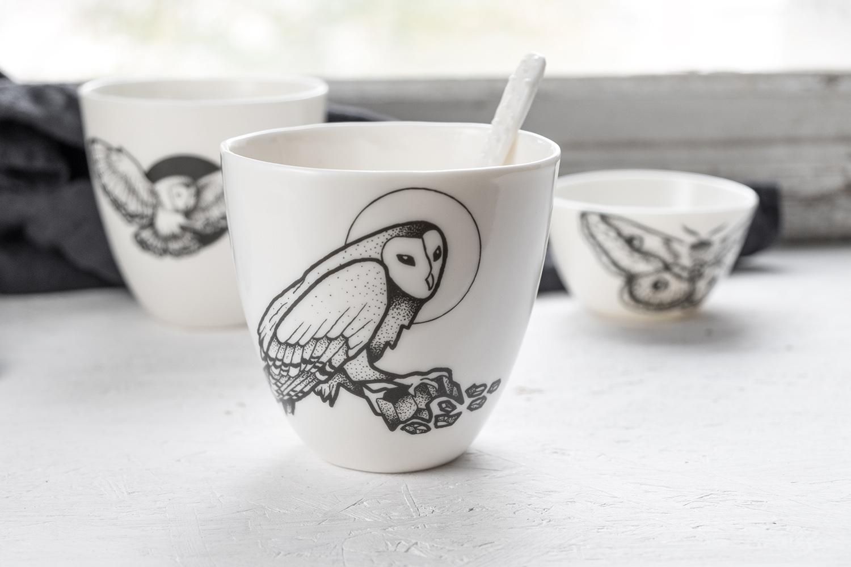 Mug breakfast cup owl grapgic tattoo black lines porcelain modern maker italian designer Antikapratika.jpg