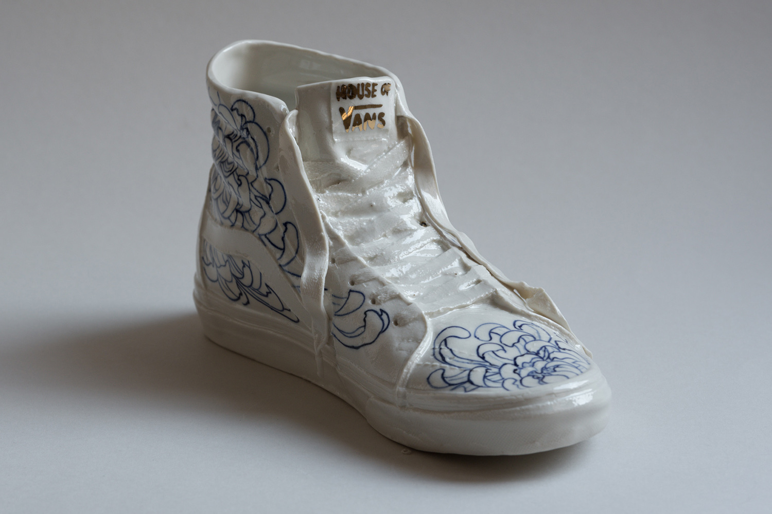 Vans white blue porcelain skate shoes handmade off the wall Hous of Vans 2019 Berlin art Marta ANtikapratika.jpg