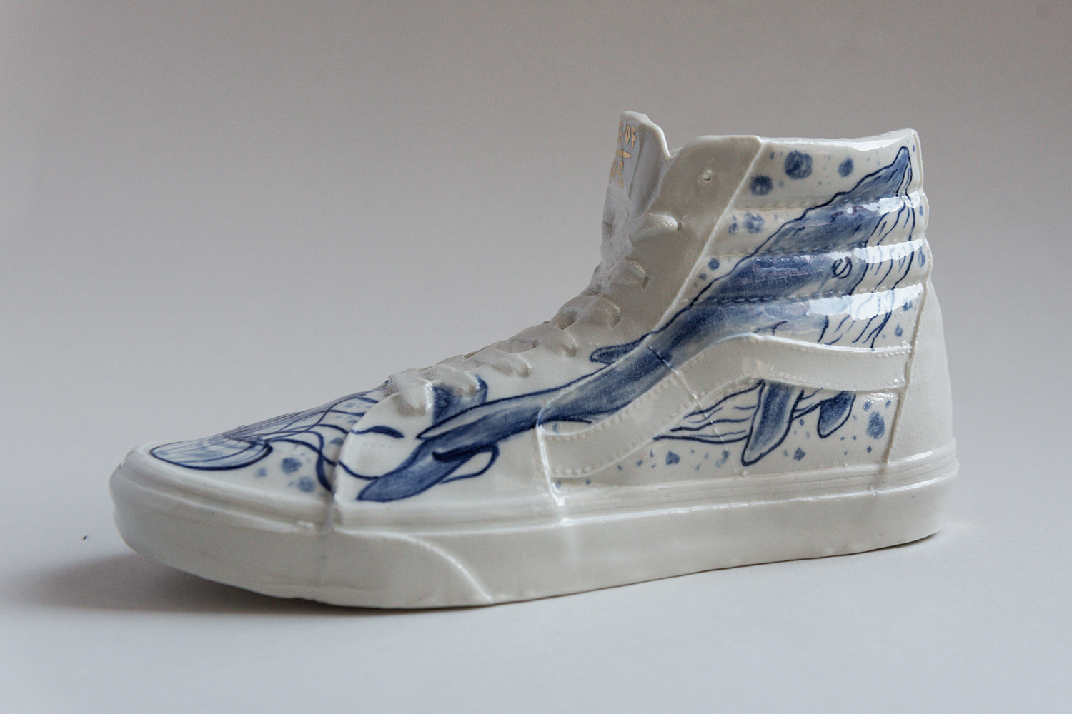 Vans skate shoe whale painted porcelain hand painted ceramic tattoo handmade Berlin art Marta ANtikapratika.jpg