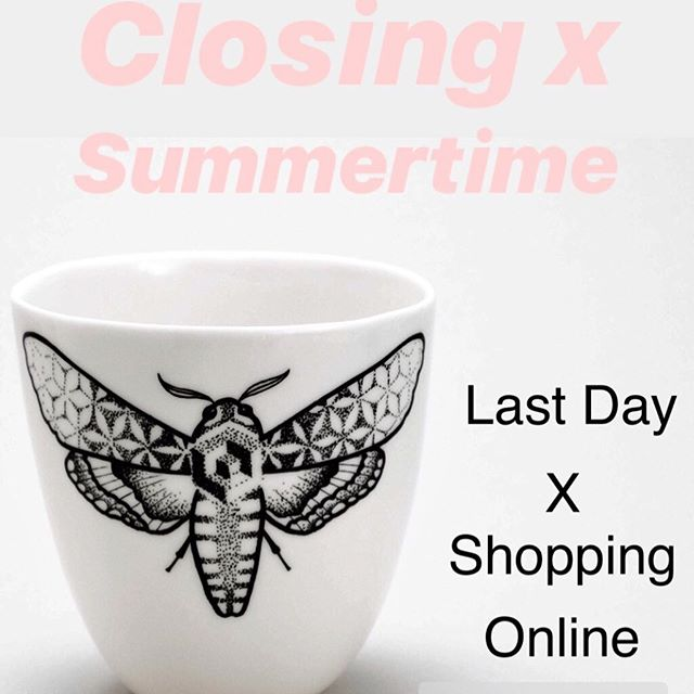 Last day of our #etsyshop  Ivan, Korny & I will be traveling around Europe during this summer, attending Markets and Conventions. Therefore we decided to temporary close the ONLINE SHOP. You will be always able to get our porcelain delivered to your home, just write as an E. Mail and we will made them for you ;) Have a great summer!!!! . Stay tuned for more newzzz soon! . #summer2019  #slowshopping  #tattooedporcelain  #consciousliving  #potterylife  #handmadepottery  #love_ceramic  #porcelain  #modernmaker  #product_only  #madeinberlin  #berlintattoo  #mothtattoo  #modernshopping  #travellocal  #visitberlin  #etsyde