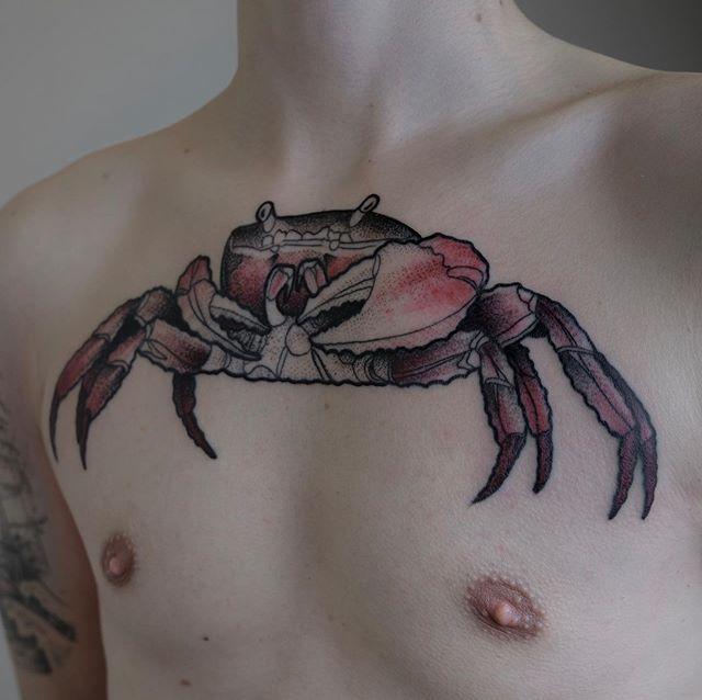 A big crab on Hannes' chest  #crabtattoo  #contemporarytattooing  #dotworktattoo  #sealifetattoo  #chesttattoo  #graphictattoo  #berlintattooers  #tttism  #btattooing  #support_good_tattooing  #support_good_tattooers  #berlintattoo  #tattoostyle  #berlinart  #tattoolife  #welovetattoos  #prenzlauerbergtattoo  #forevertattoo  #madeinberlin  #berlinart  #tttpublishing  #berlindesigner  #colorful  @tttism  @tattooculturemagazine  @tatowiermagazin  @inkedmag  @kaltblut_magazine  @tattoodo  @berlintattooists  @professionaltattoomagazine