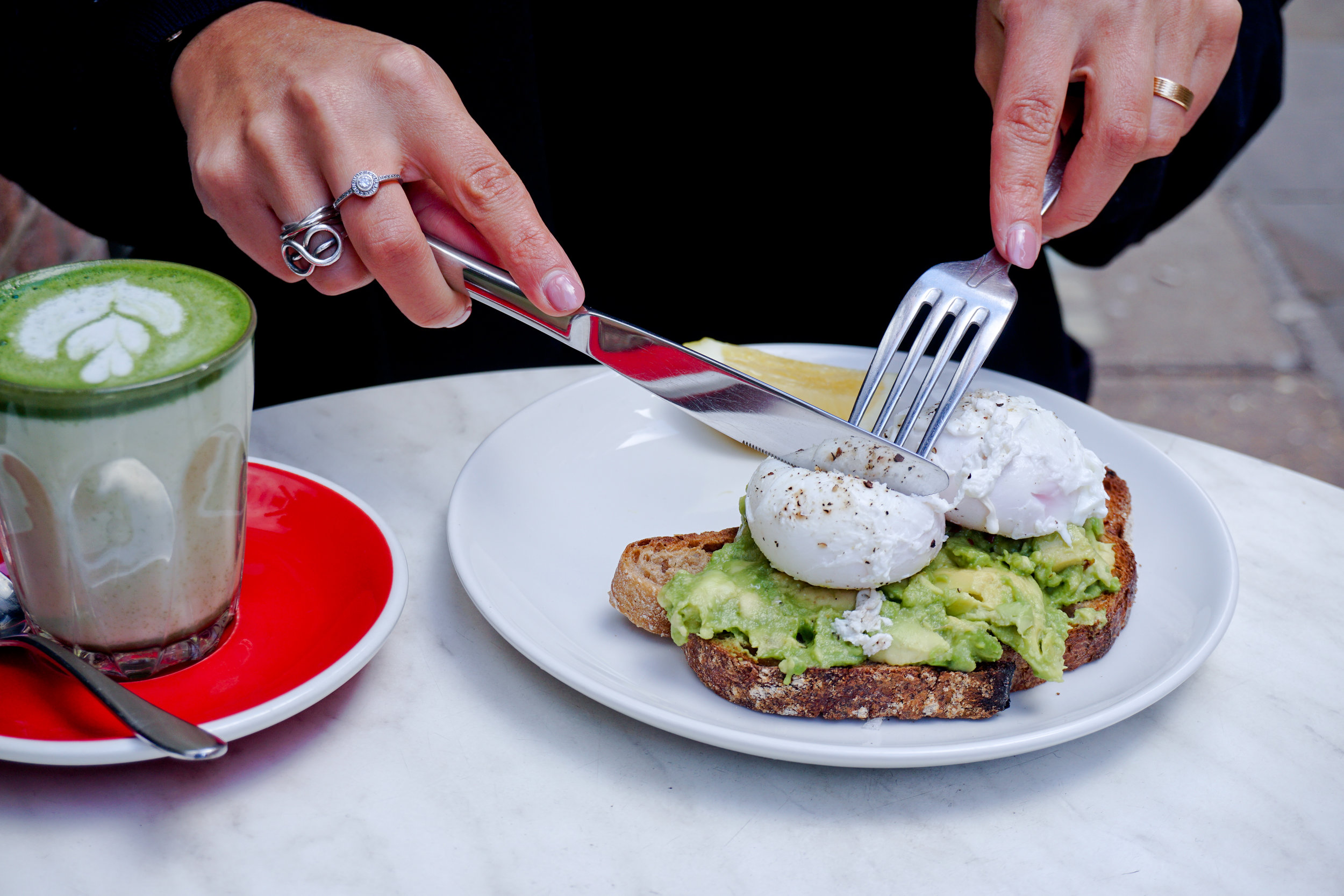 Matcha Latte & Avocado, Poached Eggs on Toast