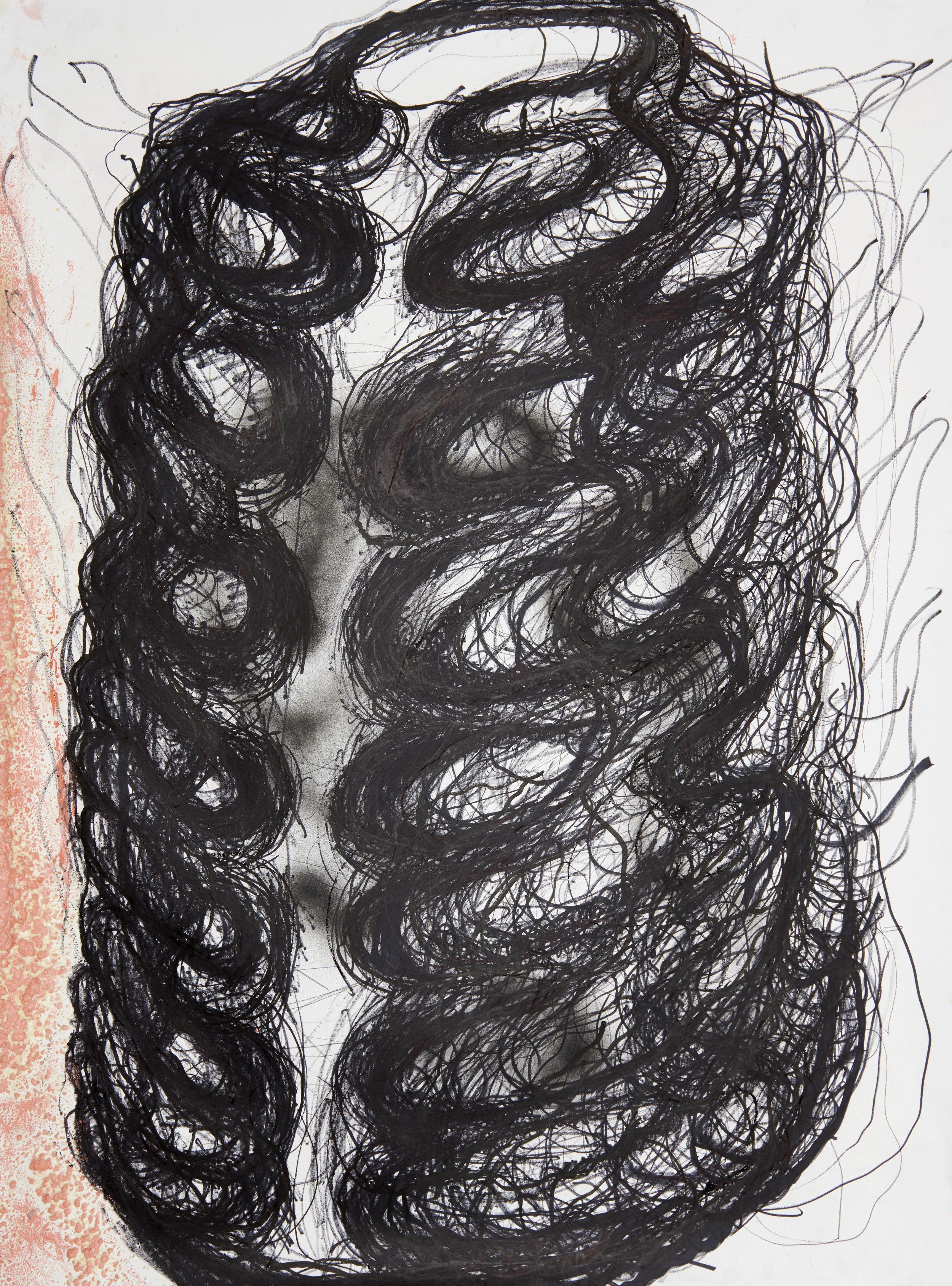 Spine study, 2018 135 x 100 cm Marker, ink, acrylic spary, gesso, polyurethane foam on paper
