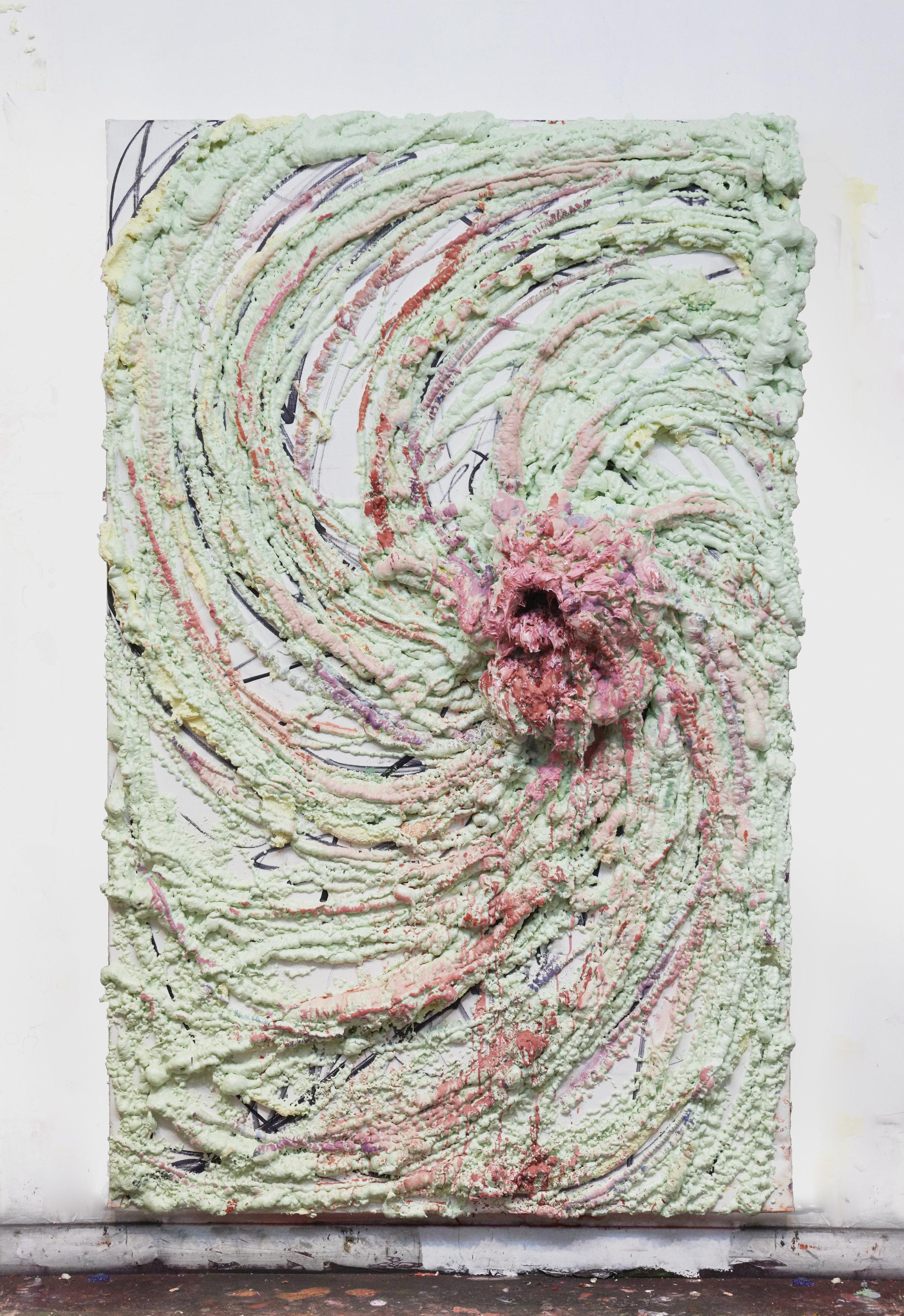 Vortex, 2019 Oil, gesso, acrylic, marker, polyurethane foam on canvas on canvas 210 x 135 x 10 cm