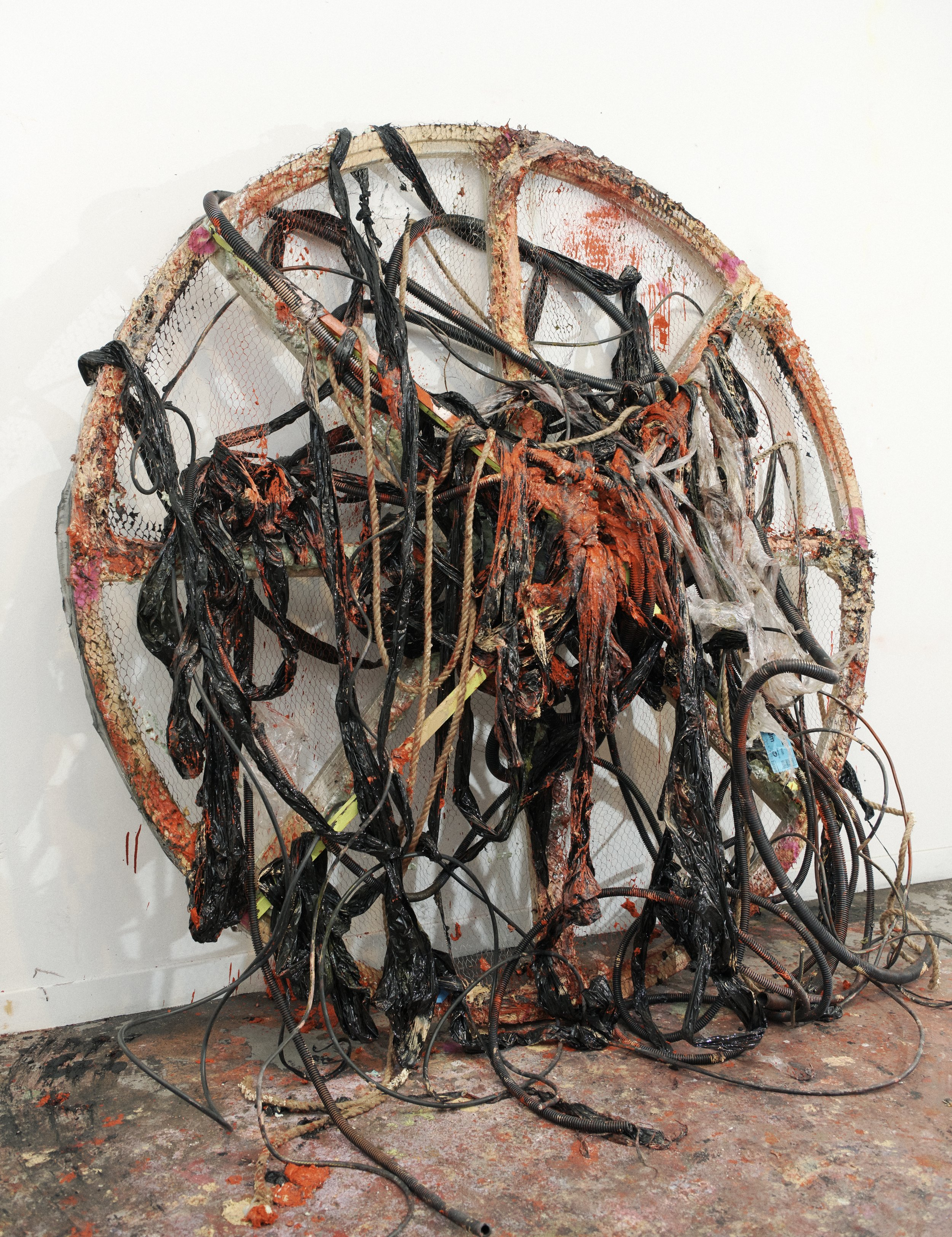 Disconnect, 2019 Oil, gesso, acrylic, plastic, electric cables, metal wire, plastic tubes, rope, polyurethane foam on wood 220 x 220 x 40 cm