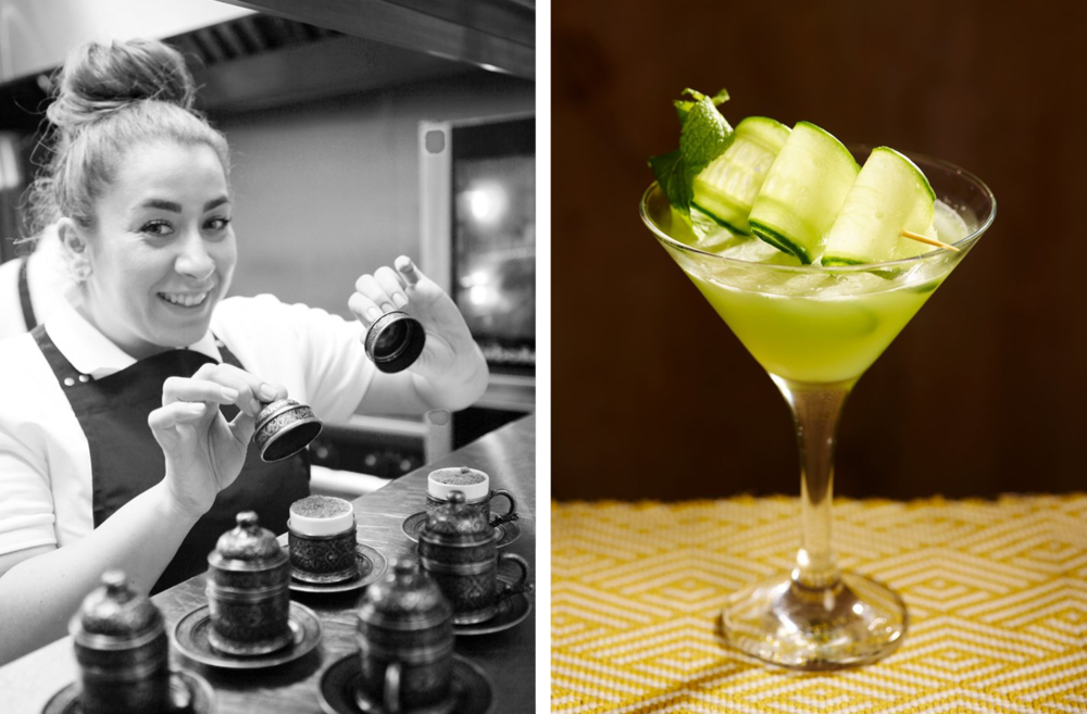 Collage of Ceru chef posing with desserts and a close up of a cocktail