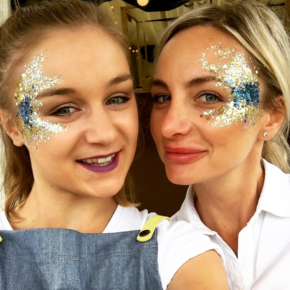 Ceru's Patricia and colleague get into the festival spirit with glitter makeup