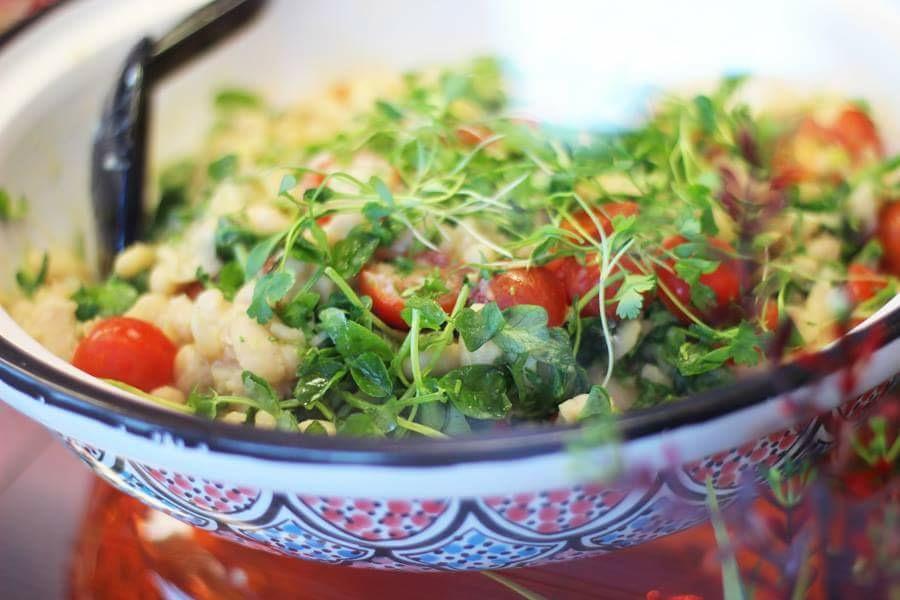 A close-up of a salad