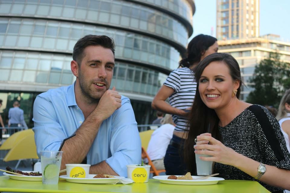Happy Ceru customers in an outdoor city setting