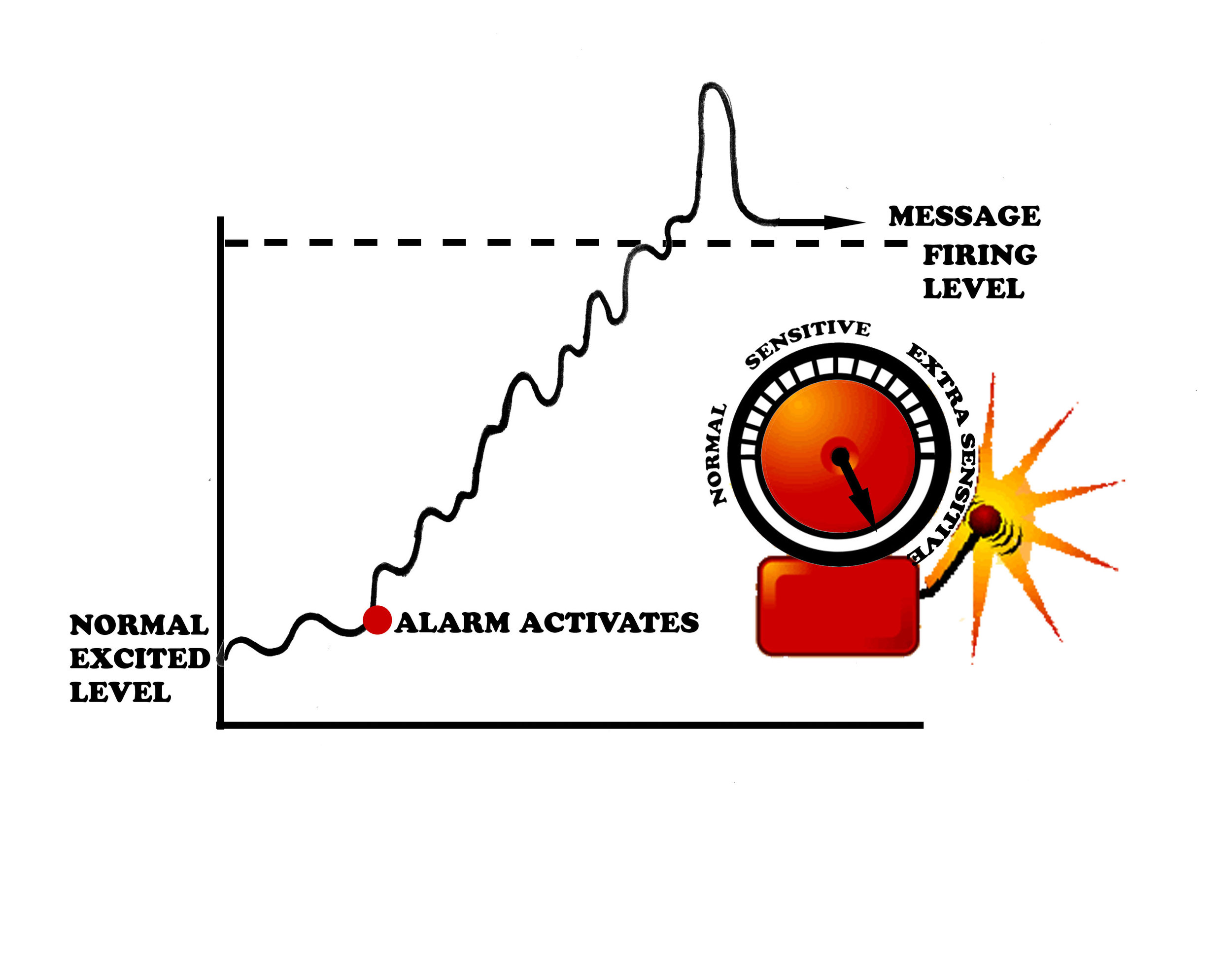"""Figure 2: Pain as an """"alarm"""". All our tissues have a nerve supply which has a constant low level buzz of electricity. When the alarm is triggered that electricity shoots and a signal is passed up to the brain to 'potentially' bring about the experience of pain.  *Image kindly reproduced with permission from Louw & Puentedura (2013)"""