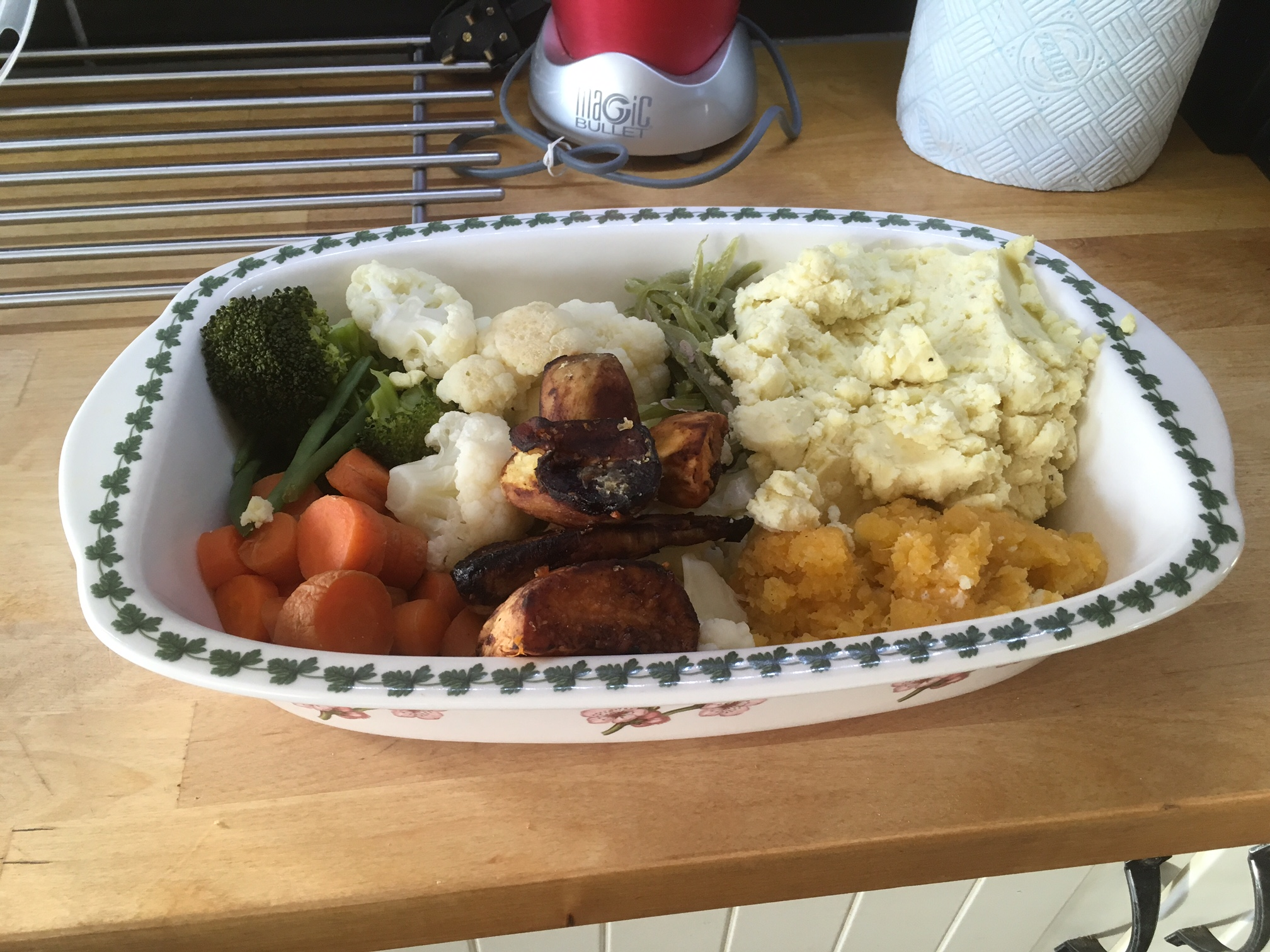 Figure 1:  As you work your way through the Luke R. Davies plan you will become very accustomed to cooking vegetables, hopefully you enjoy (or can learn to) roast dinner type meals! Always cook as much as you possibly can. Leftovers are kept in a large tray in fridge (as shown) for work the next day or for easily reheated snack meals. This is an essential time saving habit. The quicker you get on board this routine of bulk prepping the quicker you can streamline your healthy eating around your busy life.