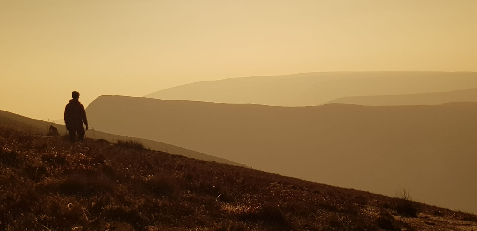 Rhys in his happy place, the Brecon Beacons on dawn patrol with 'Jax'.
