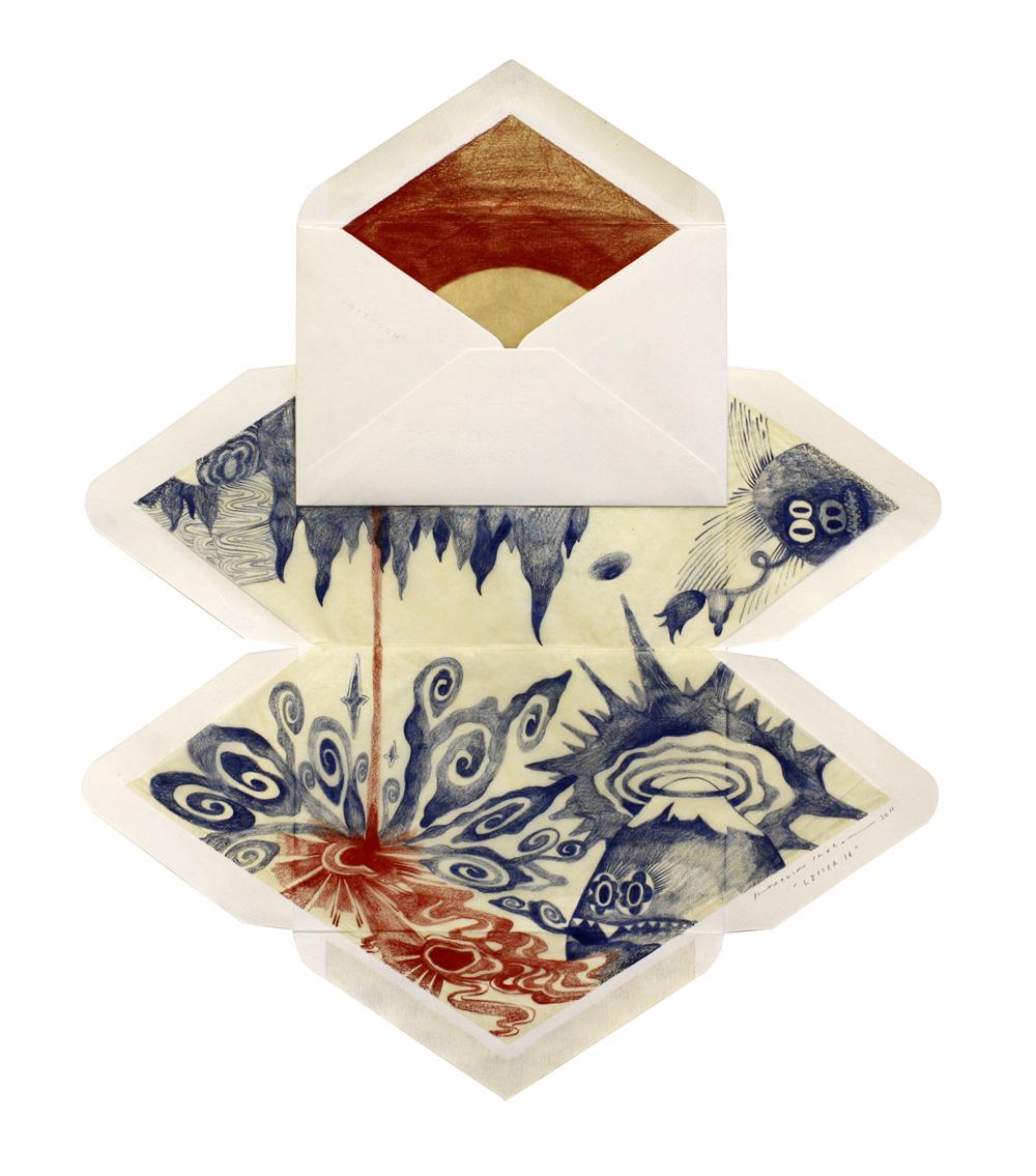 Letter 16,  2014  Dimension Vary  Colour pencils on envelopes
