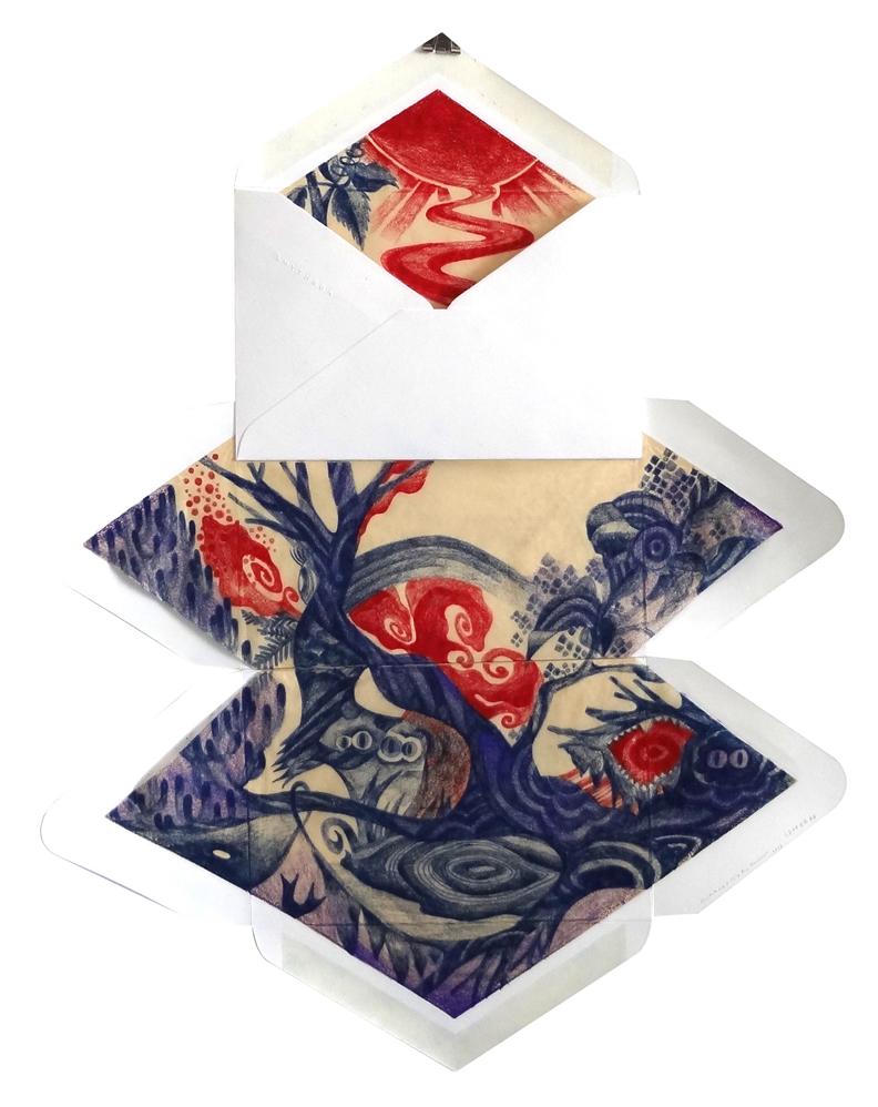 Letter 74,  2013  Dimension Vary  Colour pencils on envelopes