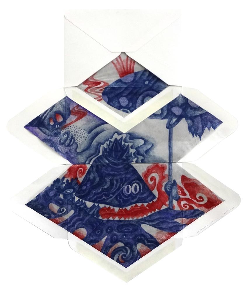 Letter 73,  2013  Dimension Vary  Colour pencils on envelopes