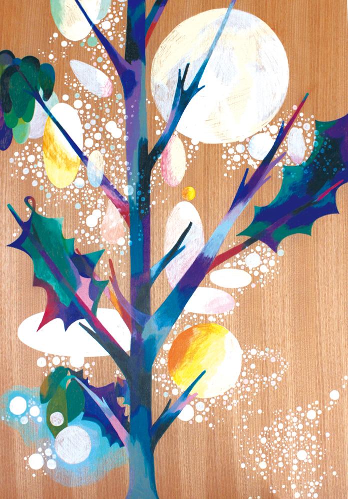 Purple Tree,   2014  841cm x 594 cm  Colour pencils on wood