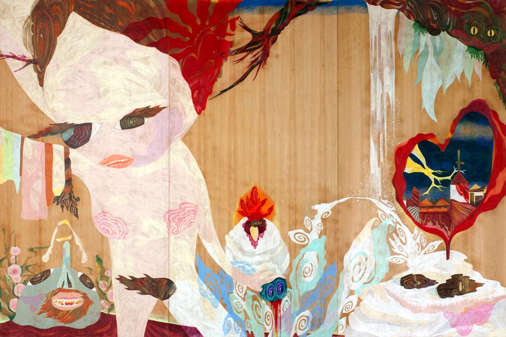 Kokoro to kamen,   2011  2m x 3m  Acrylics and Colour pencils on wood