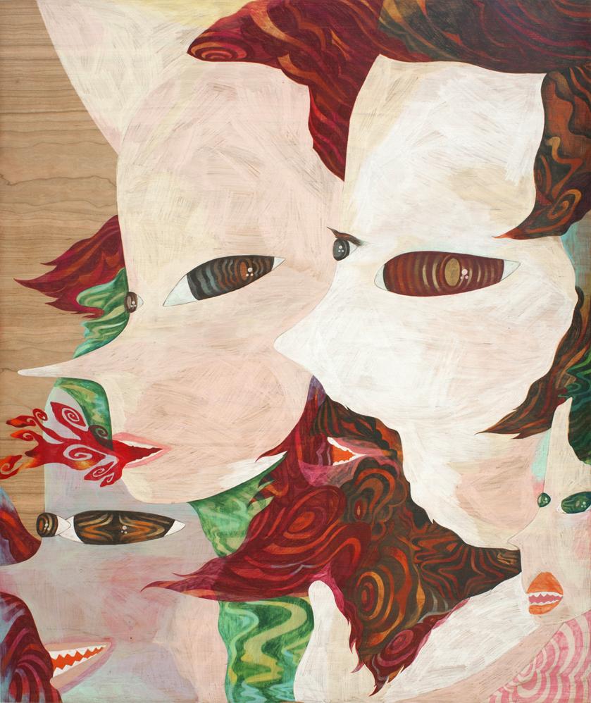 Yonin no kao,  2011  1m20cm x 1m  Colour pencils on wood