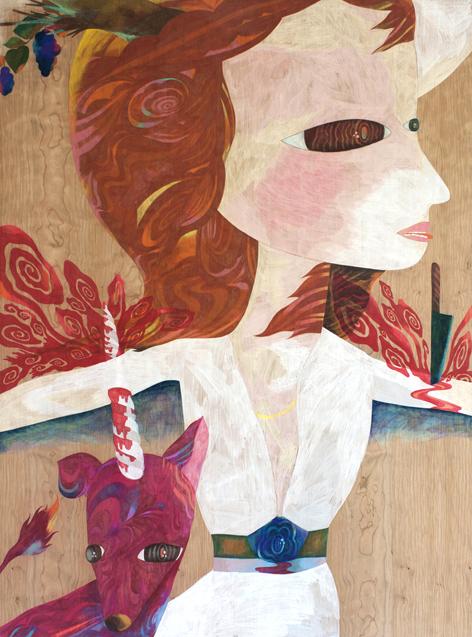 Unicorn 2,   2011  1.6m x 1.2m  Colour pencils on wood