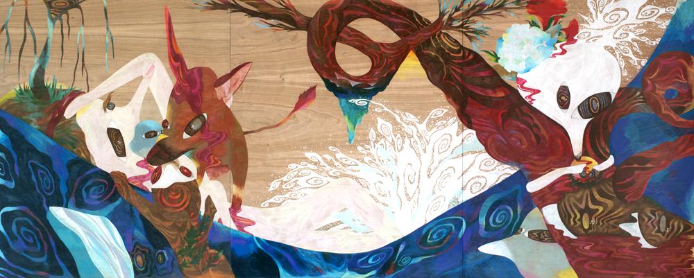 Nami to kitsune,   2011  3m x 1.2m  Colour pencils on wood